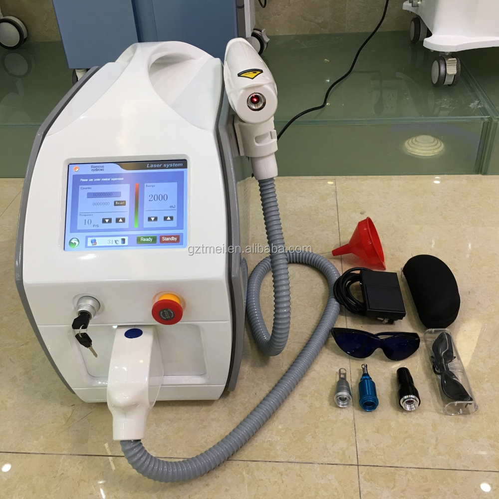 Multi-languages available tatoo removal YAG laser mole and freckle remove machine with 532nm 1064nm 1320nm tips