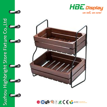 2 Tier Wood Bread Display Stand Fruit