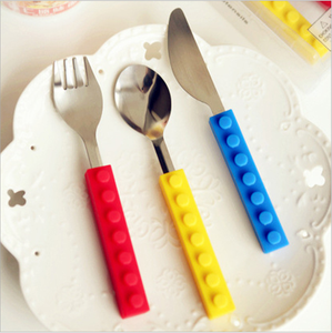 UCHOME Legos silicone building blocks utensils set spoon knife and fork in silicone handle