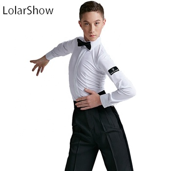 Modern Latin Dance Shirt For Boys Latin Clothing Boys Latin Performance Top For Sale