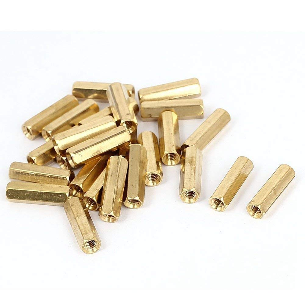 Yohii 50Pcs M3 x 20mm x 26mm Male Female Threaded Gold Tone Brass Pillar PCB Hexagon Nut Standoff Space