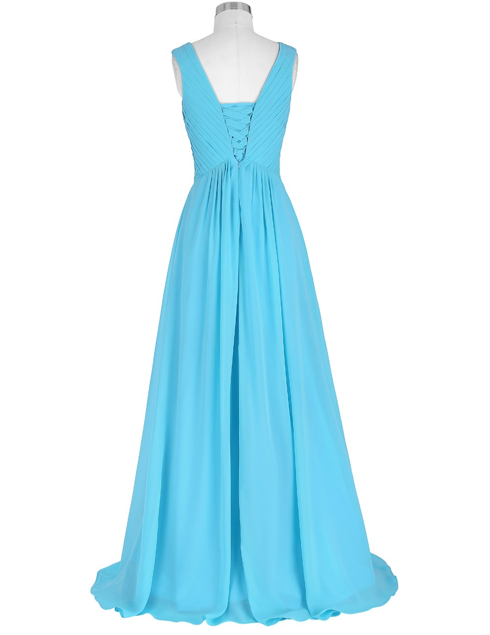 Grace Karin Sleeveless V-Neck Chiffon Sky Blue Long Prom Dress GK000128-2