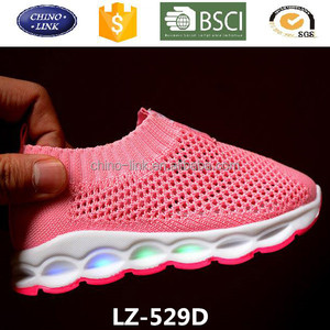 2017 Summer new arrival breathable mesh upper kids led light up glowing sports sheos sneakers for athletic girls and boys