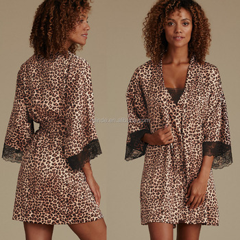 Animal Print Satin Wrap Kimono Style Wedding Briadmaid Sleepwear ...