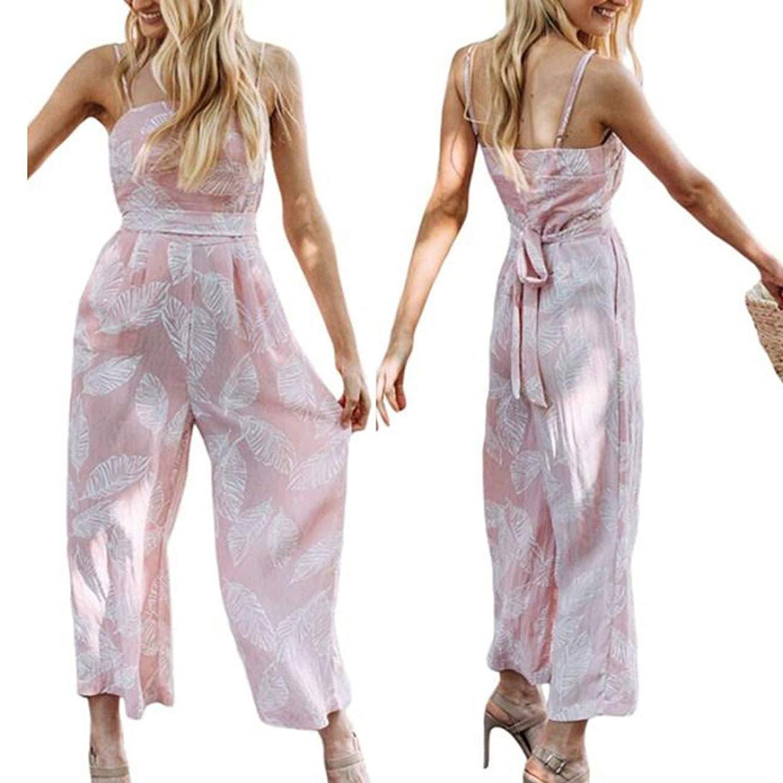 0fd6ac4c271 Leedford Women Ladies Leaves Printing Sleeveless Long Playsuits Wide Leg Rompers  Jumpsuit