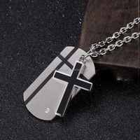 Stainless Steel Dog Tag Pendant And Cross Pendant Double Necklace For Men