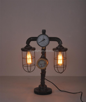 Decorative Vintage Table Lamp Antique Metal Pipe Edison Bulb Table