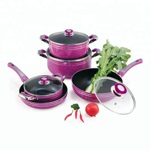 Hot sell non stick aluminum pink cookware set