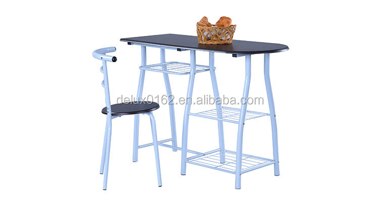 Wood top Breakfast table and chair C361 c361-banner-2.jpg This small breakfast table and chair with 3 strage rack, suitable height, save space. Welding steel tube make the table and chair set durable and durable; Assembly structure easy for customer using. Well use as breakfast table, dinner table for home bar, or set on the balcony. Product Specification: Production Item No.: C361 Table size: 90*50*75cm Table frame: white powder coated steel tube Table top: MDF wood with PVC Chair size: 40*40*77cm Chair seat: MDF wood with PVC Color customized: Accepted Packing: Assembled c361-banner.jpg TABLE SIZE c361-table-size.jpg TABLE DETAIL c361-table-corner.jpg CHAIR c361-chair-size.jpg CHAIR SEATc361-chair-seat.jpg Company Information ABOUT US ZhangZhou Delux Furniture Manufacturing Co.,Ltd established in 2011,our factory specialize in manufacturing school furniture and home or office steel-wood furniture. Our factory, locate at Wenpu Industrial Zone, Jiaomei, Zhangzhou City, which covering area 15000 square meters and have 85 workers in normal season,and in 2017 years we have another new factory(5000 square meters) start prodution, Strick consistent quality control system guranttee your orders. Hundreds of furniture designs enrich markets demands. and our high quality products mainly export to Middle East,Africa,Germany,Italia, Russia,India,Indonesia,etc over 20 countrys, and with our peferct service,now every year there have more and more new customers establish long cooperation with our company. Welcome to visit our factory, you will be the First. 8994167786_155678503 (1) value 2.jpg 1. Our price is 3% lower than average level. Any disagreement between us we talk, and work them out; 2. Make the furniture as your requirement, make sample double check; 3. Manufacturer capacity 100*40HQ per month; 4. Experienced workers, most of them have more than 20 years experience; 5. Rapid and accurate delivery more than 90%.