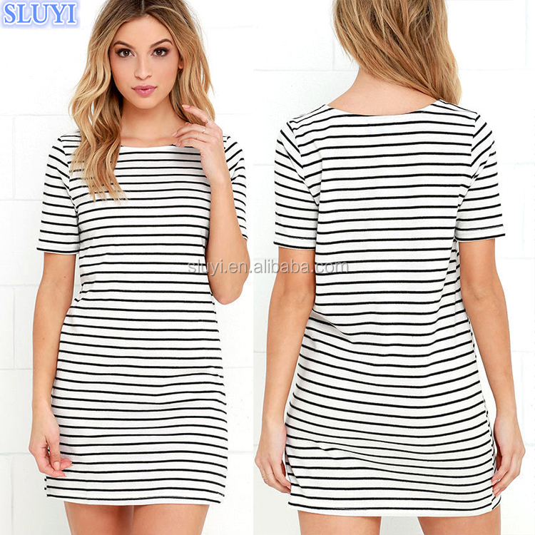 wholesale classic 100% cotton t shirt dresses black white stripe blank t-shirt dresses short sleeve last plus size dress designs