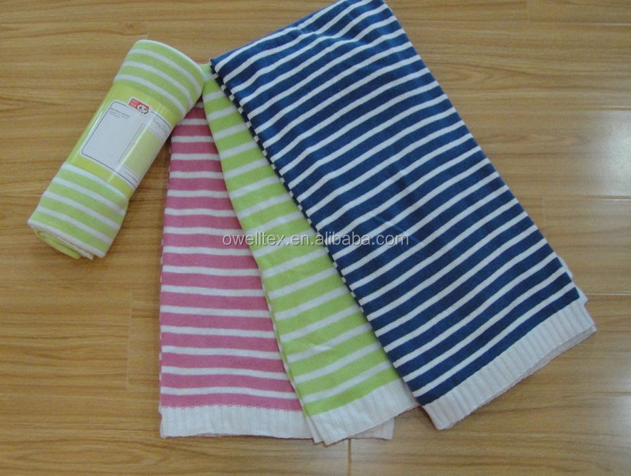 Stripe cotton baby blanket / 7 Gauge