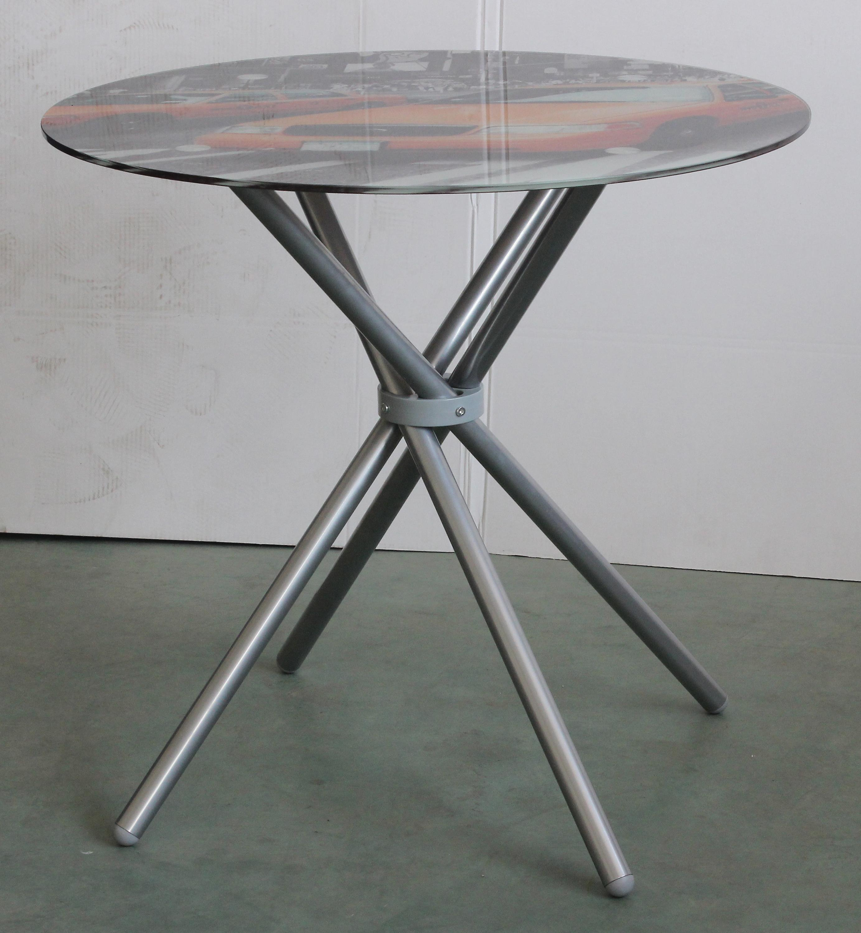 Cheap Glass Metal Base Round Coffee Table Meeting Reception Table