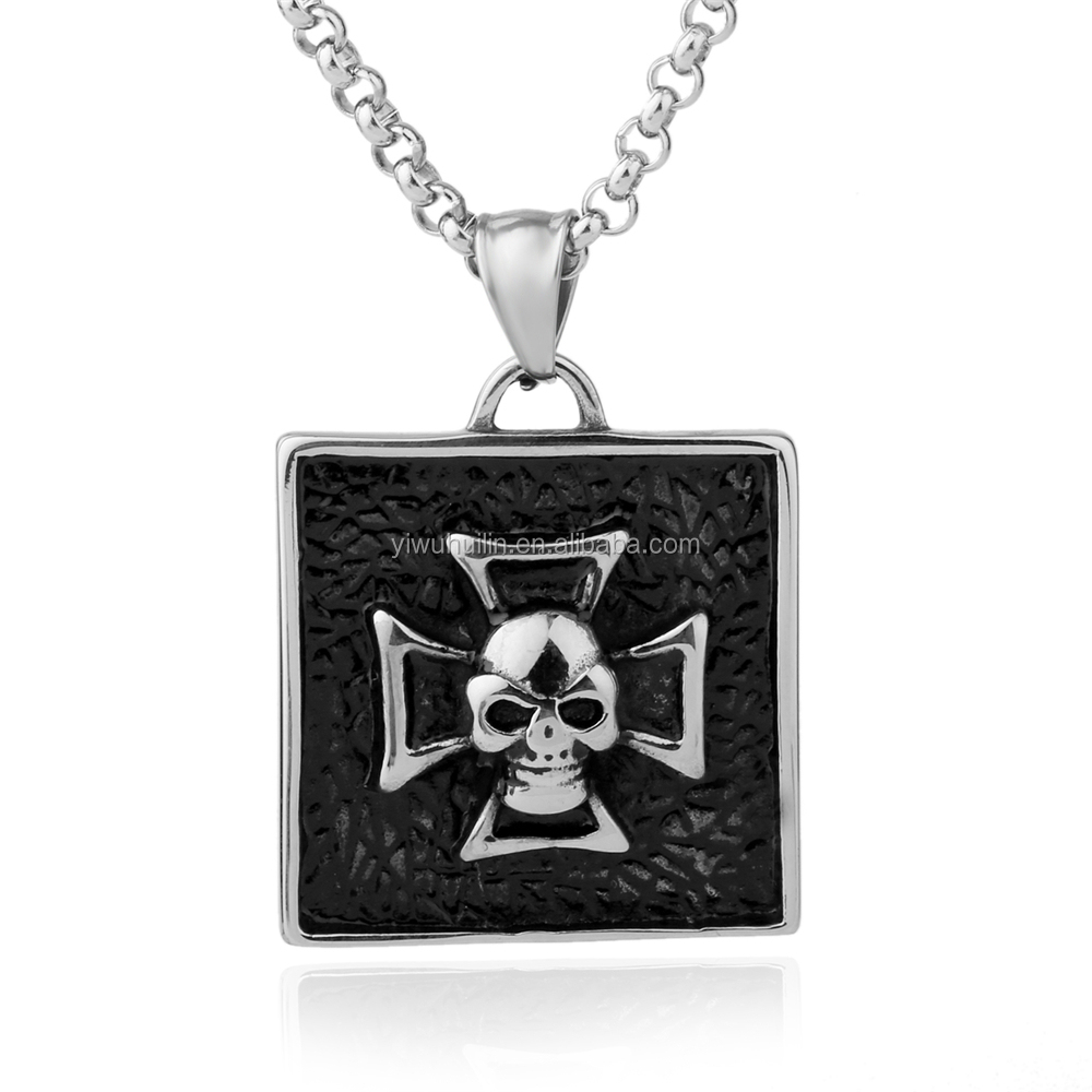 NS 047 Yiwu Huilin Jewelry New trend stainless steel jewelry skull crystal eyes stainless steel necklace for men