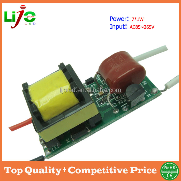 Hot sale isolated dimming power supply 110v 220v 5-7x1W constant current 300ma triac dimmable led driver for led lamps