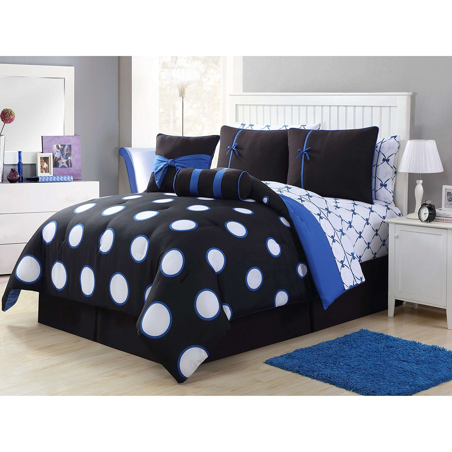 8 Piece Twin Black Blue Contemporary Bed In A Bag With Sheet Set For Teen Girls, High Class Bedding, Polyester Fabric, Polka Dot Pattern, Machine Washable, Dark Black, Medium Blue, White Dot