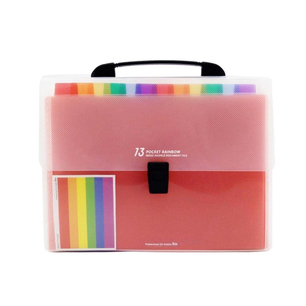 SODIAL 13 Pockets Plastic Expanding Accordion Folders, Letter Size Portable Document Holder, A4 File Organizer