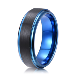 new design black and blue color brush surface tungsten ring 8mm engagement ring latest wedding band designs fashion jewelry 2018
