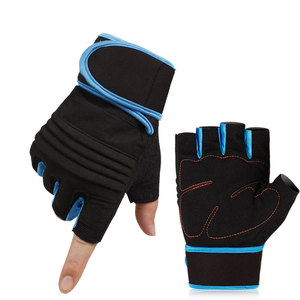 Custom logo grip weight lifting gym gloves with wrist support