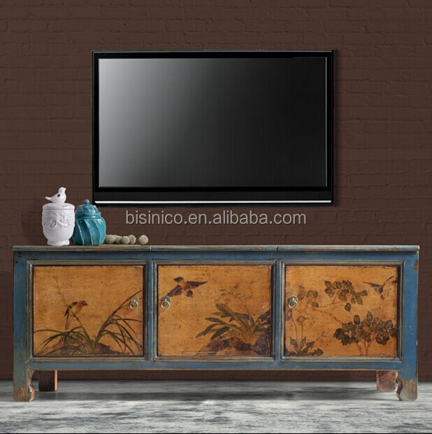 Chinese Style Living Room Wooden TV Cabinet, Antique Decorative Hand  Painting Side Table/side Part 57