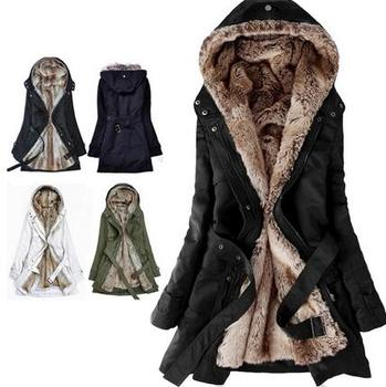 Hick Faux Fur Lining Women's Fur Hoodies Winter Warm Long Fur ...