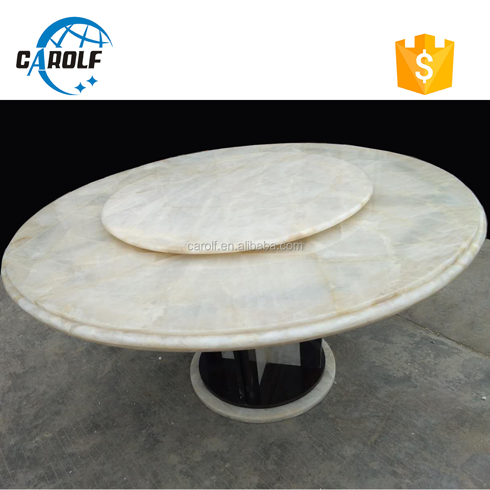 foshan carolf furniture jade marble round <strong>table</strong> with lazy susan