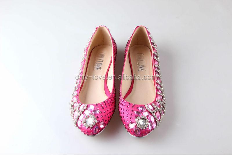 Bs833 Hot Pink Flat Crystal Bridal Wedding Shoes ...