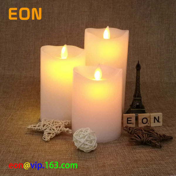 C833 Christmas Decoration 3 pieces pillar wax led candle with moving flame