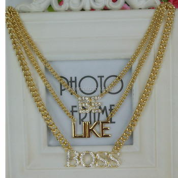 Women Men Accessories Fashion Exaggerated Punk Style Hollow Hip Hop Chain Rhinestone Pendant Boss Necklace