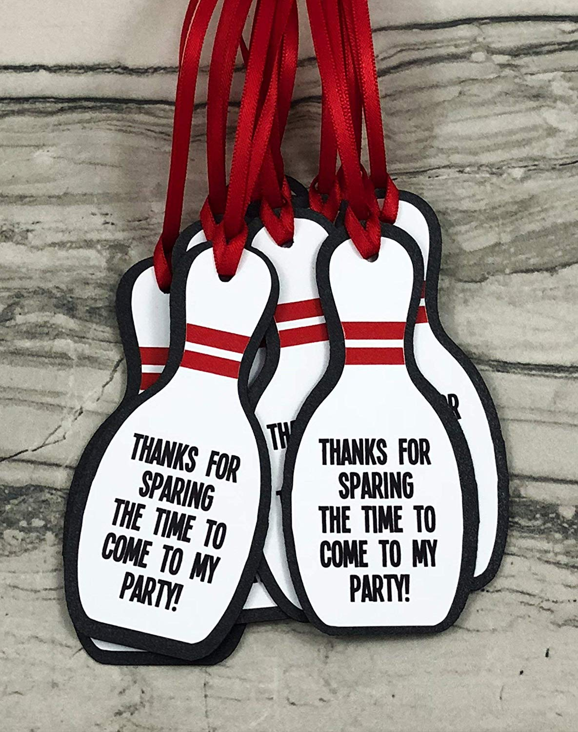 Bowling Pin Party Favor Gift Tags - Set of 12