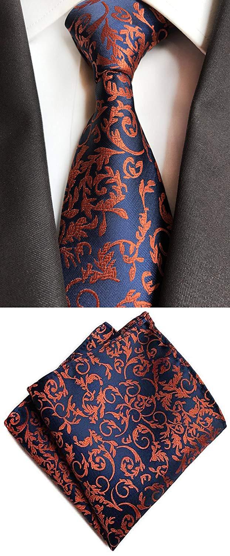 fe1055bec694 Get Quotations · MOHSLEE Men's Floral Banquet Suit Tie Handky Wedding  Necktie & Pocket Square Set