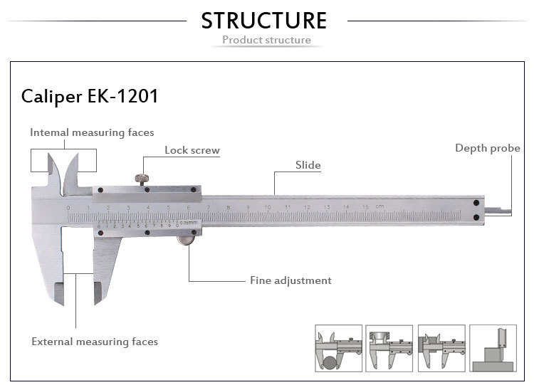 Ek-1201 Open Type Vernier Calipers 0-150mm - Buy Open Type ...