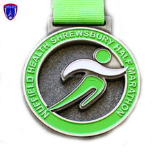 Custom made green hard enamel miraculous souvenir zinc alloy gold metal marathon sport medal for victor