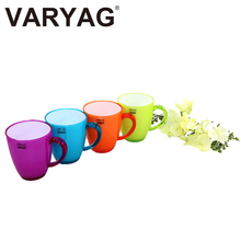 VARYAG Hot sell food grade environmental protection PS material double layer anti-hot handle design durable plastic fashion cup