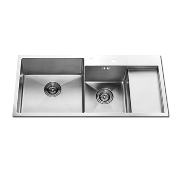 luxury double bowl stainless steel farmhouse sink for kitchen with food processing table