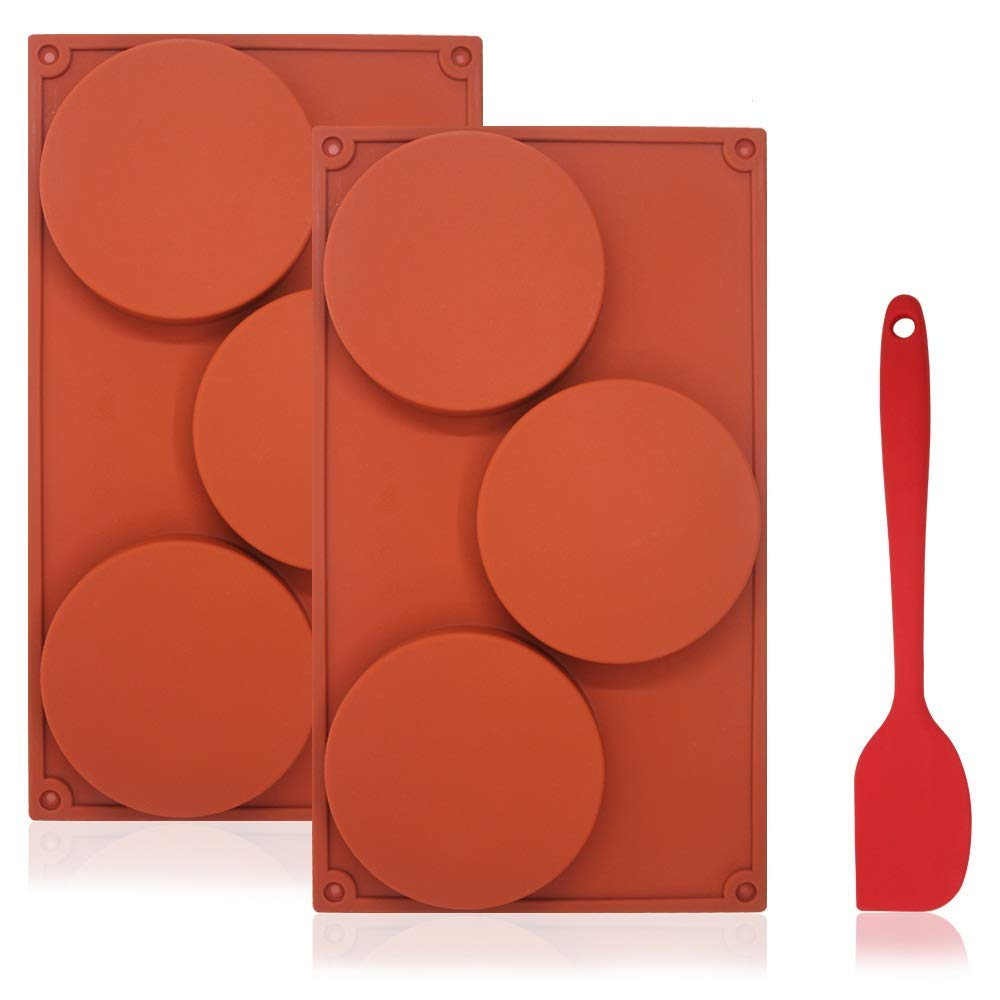 3-Cavity Large Round Silicone Disc Cake Mold with Silicone Spatula, DuKuan 3 Pcs Pack of Non-Stick Baking Molds for Cake, Candy, Soap