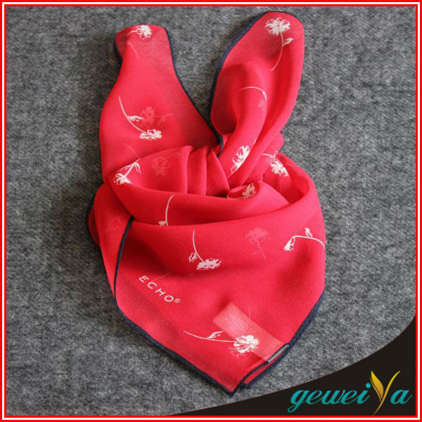 High Quality Red Printing Chiffon Silk Small Neck Scarf