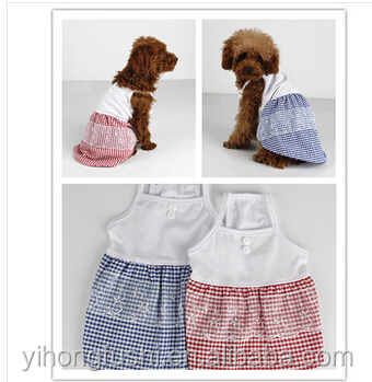 Dog Clothes Dress Pet Skirt Dog Summer Pink Blue Lace Puppy Clothes 4 Size