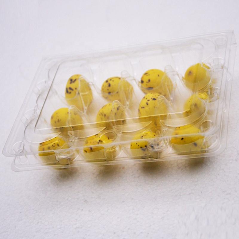 Caixa da caixa de embalagem bandeja de ovos de codorna plástico transparente atacado com12 buracos