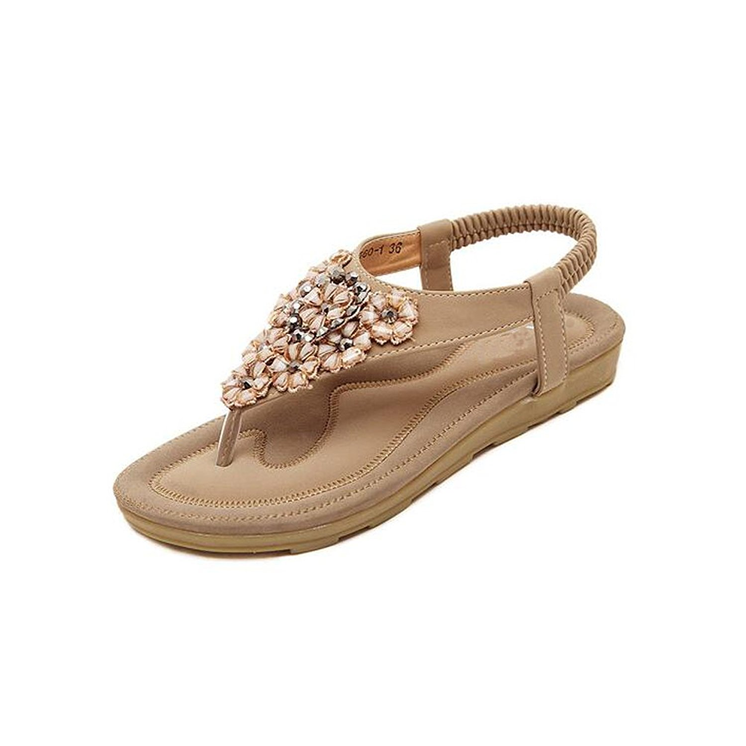 311607c7df512a Women Thongs Flip Flops Rhinestone Flower Synthetic Leather T-Strap Sandals