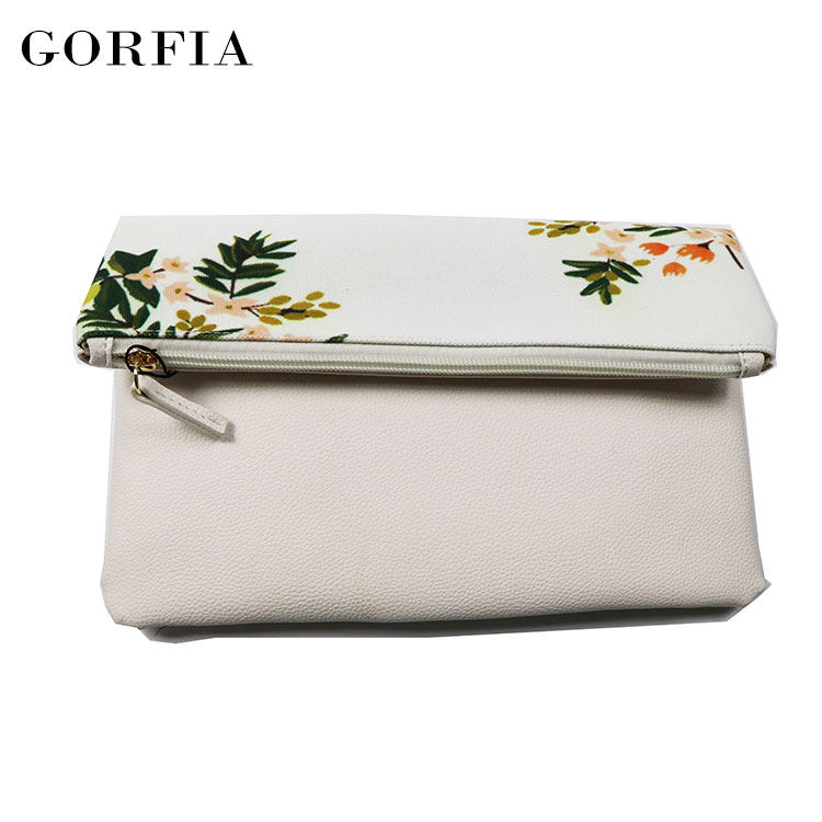 Alibaba China manufacturer simple design leather white clutch bag for lady