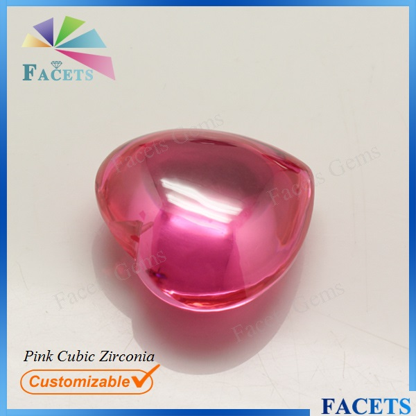 Facets Gems Large Pink Cubic Zirconia Cabochon Gemstone Heart