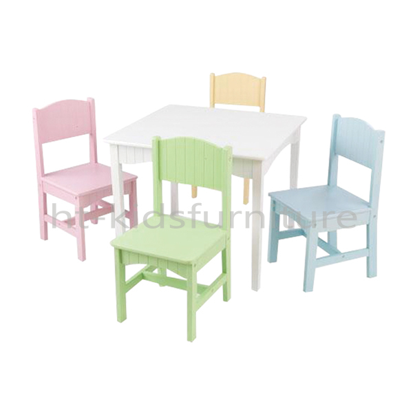 75b5513458b 60x60x50cm E1 MDF White Wooden Dinning Table Set With Four Coloful Chairs  For Kids Above 3 Years Old