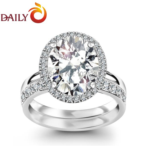 Engagement Wedding Rings Set For Women Silver Tone Oval CZ