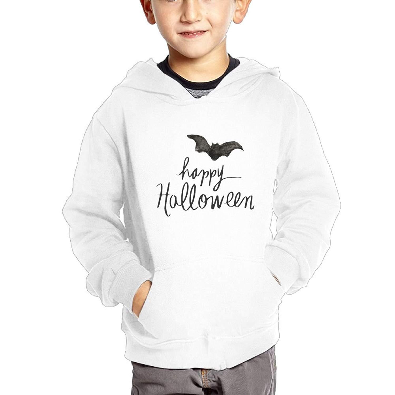 Anutknow Bat Happy Halloween Pattern Children's Fashion Casual Hooded Pocket Sweater