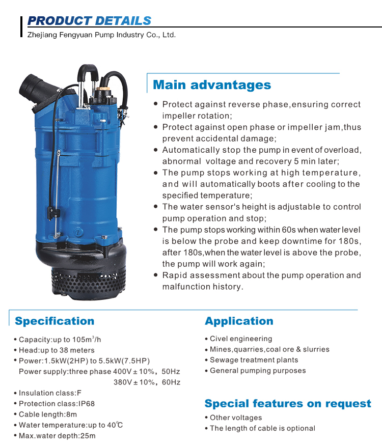 MEUDY KBZE High Pressure Intelligent Dirty Water Submersible Fountain Pump