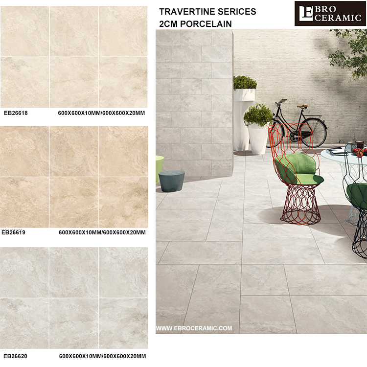 China factory supply beige and light grey travertine look 2cm porcelain outdoor floor tile 60x60