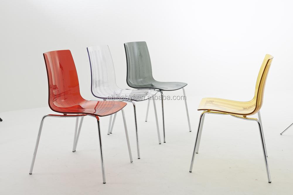 Trasparente pc sedia di plastica con gambe in acciaio pp c