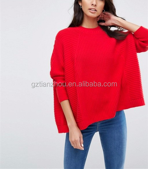 Hot New Design Red Cape Oversized Sweater Fashion Woman Sweater ...