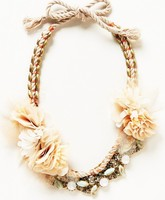 Trendy necklace 2016 new product fashion jewelry by cotton string braided with metal chain and chiffon flowers
