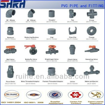Hot rubber joint type pvc pipe fittings for water supply for Types of plumbing pipes